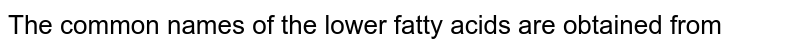 The common names of the lower fatty acids are obtained from