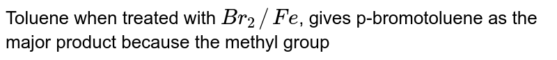 Toluene when treated with `Br_(2)//Fe`, gives p-bromotoluene as the major product because the methyl group
