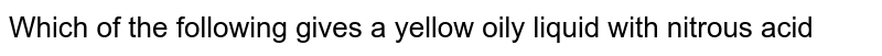 Which of the following gives a yellow oily liquid with nitrous acid