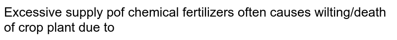 Excessive supply pof chemical fertilizers often causes wilting/death of crop plant due to