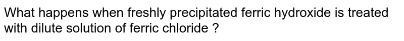 What happens when freshly precipitated ferric hydroxide is treated with dilute solution of ferric chloride ?