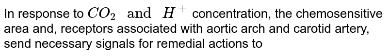"""In response to `CO_(2)"""" and """"H^(+)` concentration, the chemosensitive area and, receptors associated with aortic arch and carotid artery, send necessary signals for remedial actions to"""