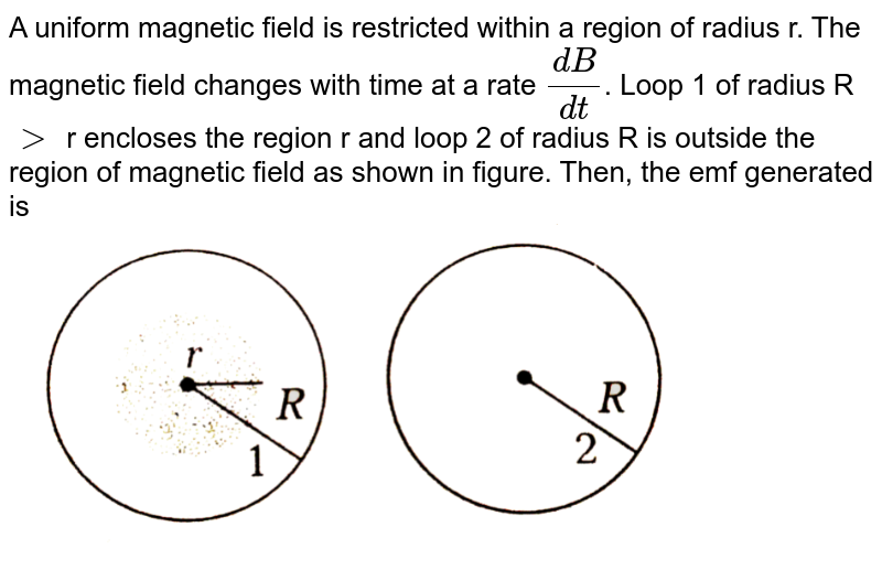 """A uniform magnetic field is restricted within a region of radius r. The magnetic field changes with time at a rate `(dB)/(dt)`. Loop 1 of radius R `gt` r encloses the region r and loop 2 of radius R is outside the region of magnetic field as shown in figure. Then, the emf generated is <br> <img src=""""https://d10lpgp6xz60nq.cloudfront.net/physics_images/ARH_NEET_PHY_OBJ_V02_C06_E01_203_Q01.png"""" width=""""80%"""">"""