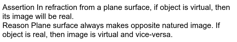 Assertion In refraction from a plane surface, if object is virtual, then its image will be real. <br> Reason Plane surface always makes opposite natured image. If object is real, then image is virtual and vice-versa.