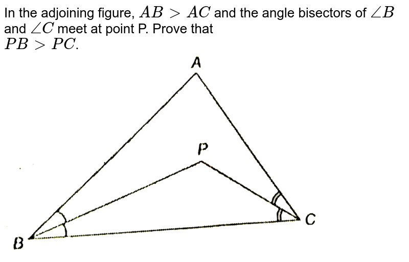 """In the adjoining figure, `AB gt AC` and the angle bisectors of `angleB` and `angleC` meet at point P. Prove that <br> `PB gt PC`. <br> <img src=""""https://d10lpgp6xz60nq.cloudfront.net/physics_images/NTN_MATH_IX_C07_E01_042_Q01.png"""" width=""""80%"""">"""