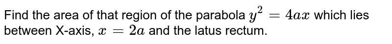 Find the area of that region of the parabola `y^(2)=4ax` which lies between X-axis, `x=2a` and the latus rectum.