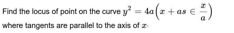 Find the locus of point on the curve `y^2=4a(x+as in x/a)` where tangents are parallel to the axis of `xdot`