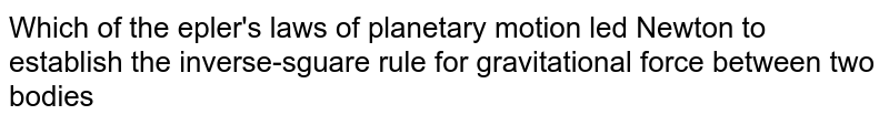 Which of the epler's laws of planetary motion led Newton to establish the inverse-sguare rule for gravitational force between two bodies