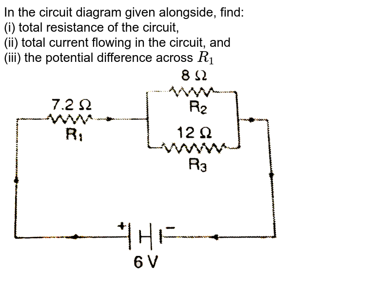 """In the circuit diagram given alongside, find: <br> (i) total resistance of the circuit, <br> (ii) total current flowing in the circuit, and <br> (iii) the potential difference across `R_(1)`  <br> <img src=""""https://d10lpgp6xz60nq.cloudfront.net/physics_images/NCERT_PHY_X_C01_S01_015_Q01.png"""" width=""""80%"""">"""