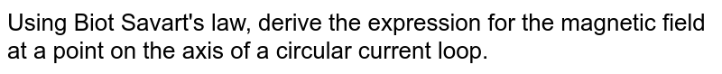Using Biot Savart's law, derive the expression  for the magnetic field at a point on the  axis of a circular  current loop.
