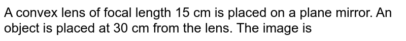 A convex lens of focal length 15 cm is placed on a plane mirror. An object is placed at 30 cm from the lens.  The image is