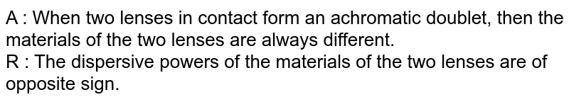 A : When two lenses in contact form an achromatic doublet, then the materials of the two lenses are always different. <br> R : The dispersive powers of the materials of the two lenses are of opposite sign.
