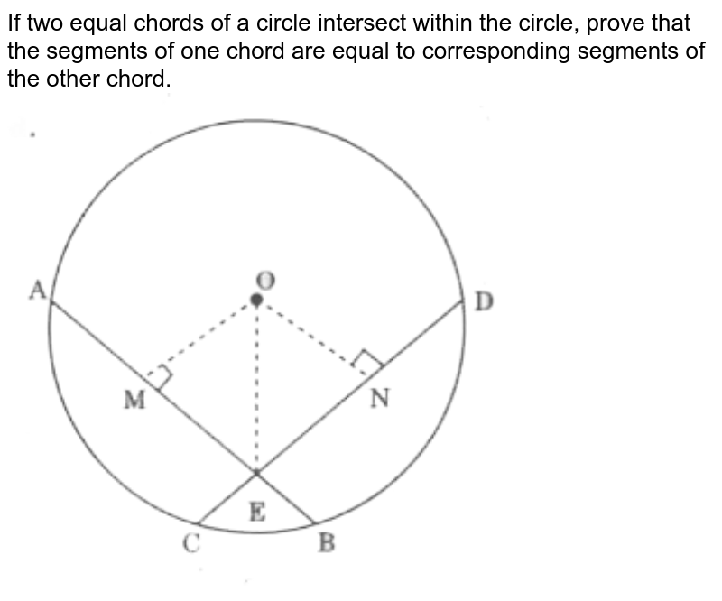 """If two equal chords of a circle intersect within the circle, prove that the segments of one chord are equal to corresponding segments of the other chord. <br> <img src=""""https://d10lpgp6xz60nq.cloudfront.net/physics_images/CPC_CBA_MAT_IX_C12_E04_002_Q01.png"""" width=""""80%"""">"""