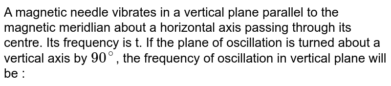 A magnetic needle vibrates in a vertical plane parallel to the magnetic meridlian about a horizontal axis passing through its centre. Its frequency is t. If the plane of oscillation is turned about a vertical axis by `90^(@)`, the frequency of oscillation in vertical plane will be :