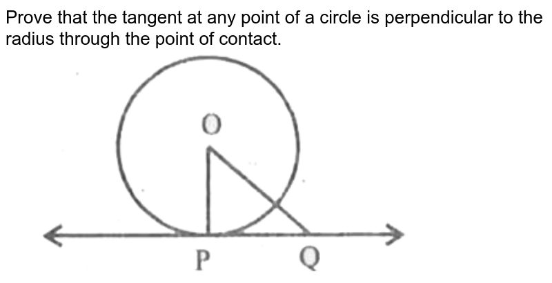 """Prove that the tangent at any point of a circle is perpendicular to the radius through the point of contact.  <br> <img src=""""https://d10lpgp6xz60nq.cloudfront.net/physics_images/CPC_CBA_ES_MAT_X_MQP_10_E01_028_Q01.png"""" width=""""80%"""">"""