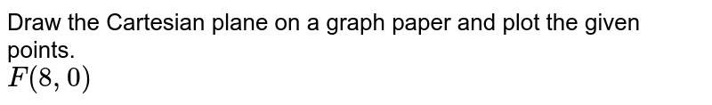 Draw the Cartesian plane on a graph paper and plot the given points.  <br> `F(8,0)`