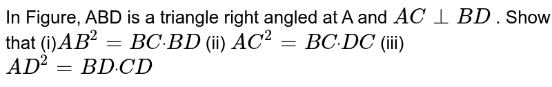 """In   Figure, ABD is a triangle right angled at A and `A C_