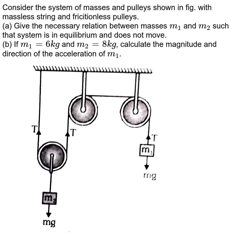 """Consider the system of masses and pulleys shown in fig. with massless string and fricitionless pulleys. <br> (a) Give the necessary relation between masses `m_(1)` and `m_(2)` such that system is in equilibrium and does not move. <br> (b) If `m_(1)=6kg` and `m_(2)=8kg`, calculate the magnitude and direction of the acceleration of `m_(1)`. <br> <img src=""""https://d10lpgp6xz60nq.cloudfront.net/physics_images/ALN_PHY_C03_S01_022_Q01.png"""" width=""""80%"""">"""