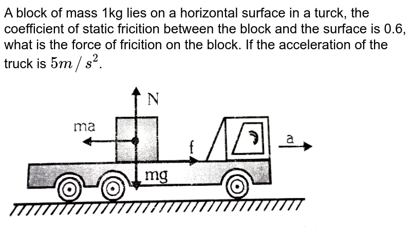 """A block of mass 1kg lies on a horizontal surface in a turck, the coefficient of static fricition between the block and the surface is 0.6, what is the force of fricition on the block. If the acceleration of the truck is `5m//s^(2)`. <br> <img src=""""https://d10lpgp6xz60nq.cloudfront.net/physics_images/ALN_PHY_C03_S01_060_Q01.png"""" width=""""80%"""">"""