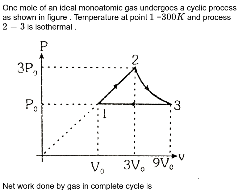 """One mole of an ideal monoatomic gas undergoes a cyclic process as shown in figure . Temperature at point `1` =`300K` and process `2-3` is isothermal . <br> <img src=""""https://d10lpgp6xz60nq.cloudfront.net/physics_images/ALN_PHY_C07(I)_S01_113_O01.png"""" width=""""80%"""">. <br> Net work done by gas in complete cycle is"""