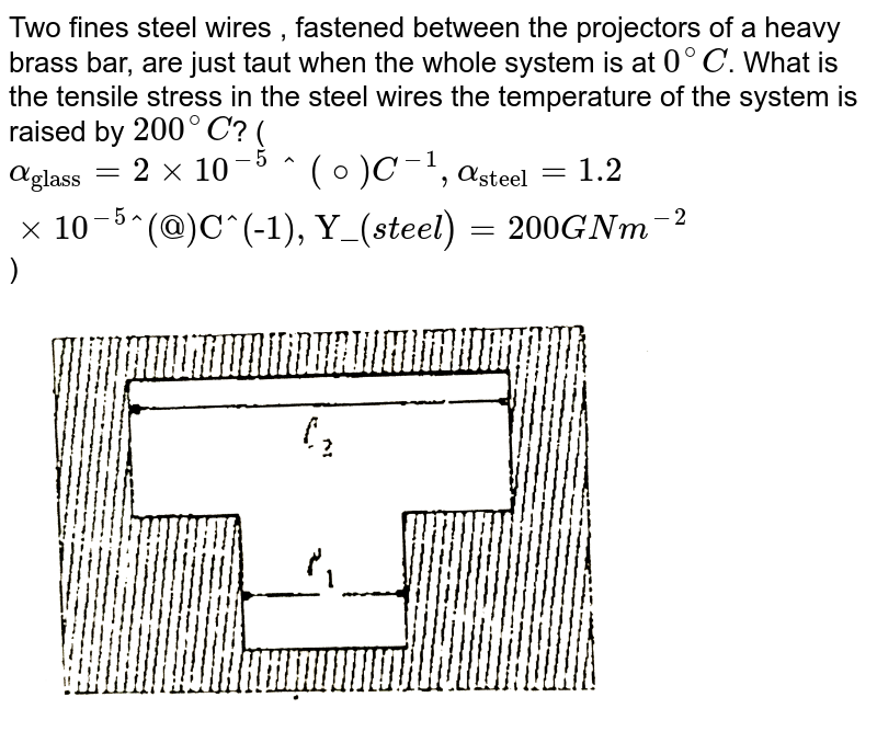 """Two fines steel wires , fastened between the projectors of a heavy brass bar, are just taut when the whole system is at `0^(@)C`. What is the tensile stress in the steel wires the temperature of the system is raised by `200^(@)C`? (`alpha_(""""glass"""") = 2 xx 10^(-5) ^(@)C ^(-1), alpha_(""""steel"""") = 1.2 xx 10^(-5)""""^(@)C^(-1), Y_(""""steel"""") = 200GNm^(-2)`) <br> <img src=""""https://d10lpgp6xz60nq.cloudfront.net/physics_images/ALN_PHY_C07(I)_E01_141_Q01.png"""" width=""""80%"""">"""