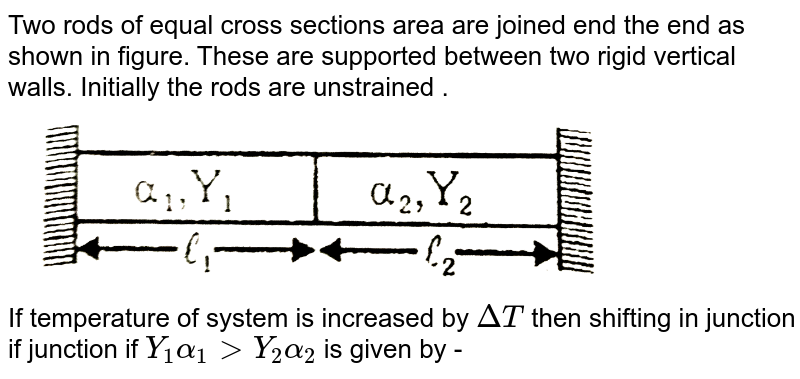 """Two rods of equal cross sections area are joined end the end as shown in figure. These are supported between two rigid vertical walls. Initially the rods are unstrained . <br> <img src=""""https://d10lpgp6xz60nq.cloudfront.net/physics_images/ALN_PHY_C07(I)_E01_229_Q01.png"""" width=""""80%""""> <br> If temperature of system is increased by `DeltaT` then shifting in junction if junction if `Y_(1)alpha_(1) gt Y_(2)alpha_(2)` is given by -"""