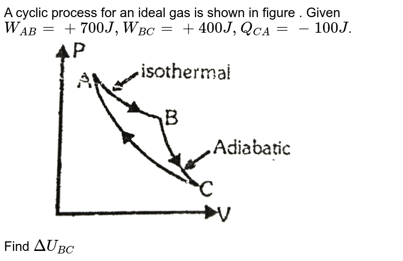 """A cyclic process for an ideal gas is shown in figure . Given `W_(AB) = +700 J , W_(BC) = +400J , Q_(CA) = -100J`. <br> <img src=""""https://d10lpgp6xz60nq.cloudfront.net/physics_images/ALN_PHY_C07(I)_E01_230_Q01.png"""" width=""""80%""""> <br> Find `DeltaU_(BC)`"""