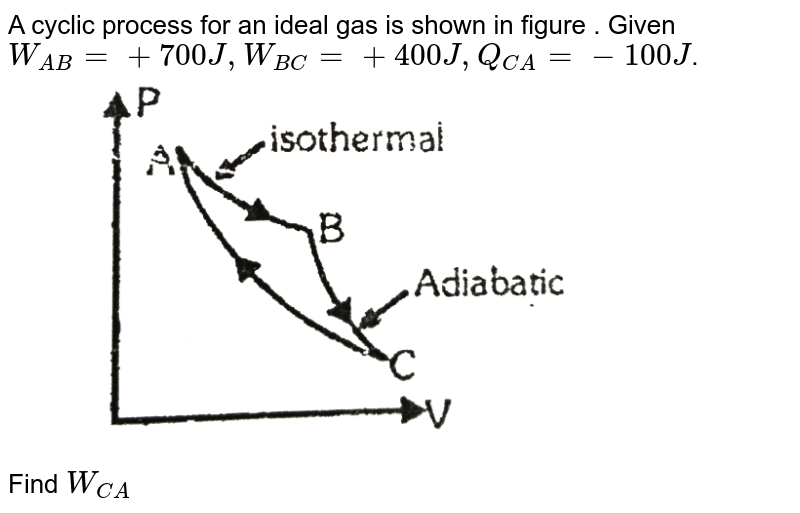 """A cyclic process for an ideal gas is shown in figure . Given `W_(AB) = +700 J , W_(BC) = +400J , Q_(CA) = -100J`. <br> <img src=""""https://d10lpgp6xz60nq.cloudfront.net/physics_images/ALN_PHY_C07(I)_E01_231_Q01.png"""" width=""""80%""""> <br> Find `W_(CA)`"""