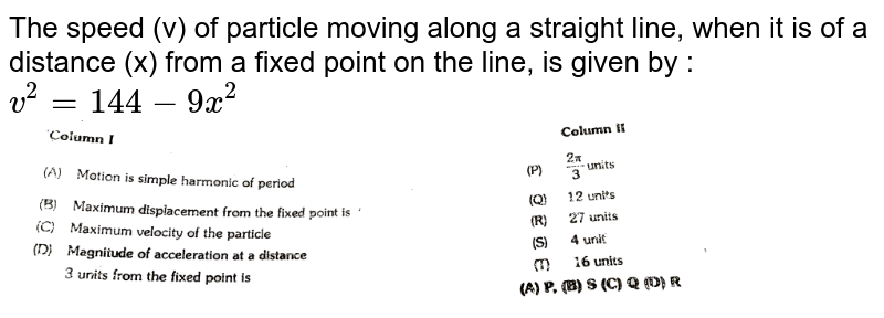"""The speed (v) of particle moving along a straight line, when it is of a distance (x) from a fixed point on the line, is given by : `v^(2) = 144 - 9x^(2)` <br> <img src=""""https://d10lpgp6xz60nq.cloudfront.net/physics_images/ALN_PHY_C09(I)_S01_056_Q01.png"""" width=""""80%"""">"""