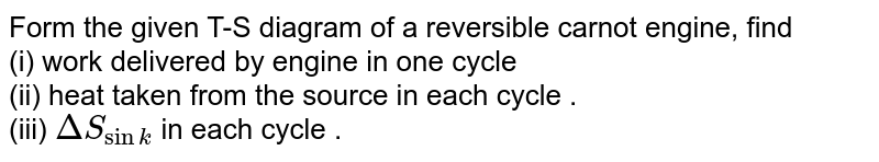Form the given   T-S  diagram of a reversible   carnot engine, find  <br>  (i) work delivered  by  engine  in one cycle   <br> (ii)  heat taken from the  source in each  cycle .  <br> (iii) `DeltaS_(sink)` in each  cycle .