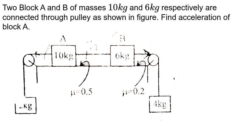 """Two Block A and B of masses `10 kg` and `6 kg` respectively are connected through pulley as shown in figure. Find acceleration of block A. <br> <img src=""""https://d10lpgp6xz60nq.cloudfront.net/physics_images/BSL_XI_RT_P13_E01_572_Q01.png"""" width=""""80%"""">"""