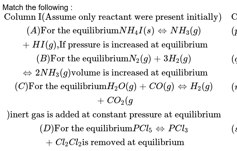 """Match the following : <br> `{:(""""Column I(Assume only reactant were present initially)"""",""""Column II""""),((A)""""For the equilibrium"""" NH_4I(s)hArr NH_3(g)+HI(g)"""",""""""""If pressure is increased at equilibrium"""",(p)""""Forward shift""""),((B)""""For the equilibrium"""" N_2(g)+3H_2(g)hArr 2NH_3(g)""""volume is increased at equilibrium"""",(q)""""No shift in equilibrium""""),((C )""""For the equilibrium"""" H_2O(g)+CO(g)hArr H_2(g)+CO_2(g)""""inert gas is added at constant pressure at equilibrium"""",(r)""""Backward shift""""),((D)""""For the equilibrium"""" PCl_5hArr PCl_3+Cl_2   Cl_2""""is removed at equilibrium"""",(s)""""Final pressure is more than initial pressure """"):}`"""