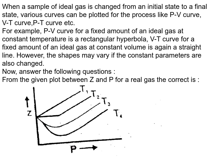 """When a sample of ideal gas is changed from an initial state to a final state, various curves can be plotted for the process like P-V curve, V-T curve,P-T curve etc. <br> For example, P-V curve for a fixed amount of an ideal gas at constant temperature is a rectangular hyperbola, V-T curve for a fixed amount of an ideal gas at constant volume is again a straight line. However, the shapes may vary if the constant parameters are also changed. <br> Now, answer the following questions : <br> From the given plot between Z and P for a real gas the correct is : <br> <img src=""""https://d10lpgp6xz60nq.cloudfront.net/physics_images/RES_PHY_RK_JA_C09_E01_482_Q01.png"""" width=""""80%"""">"""