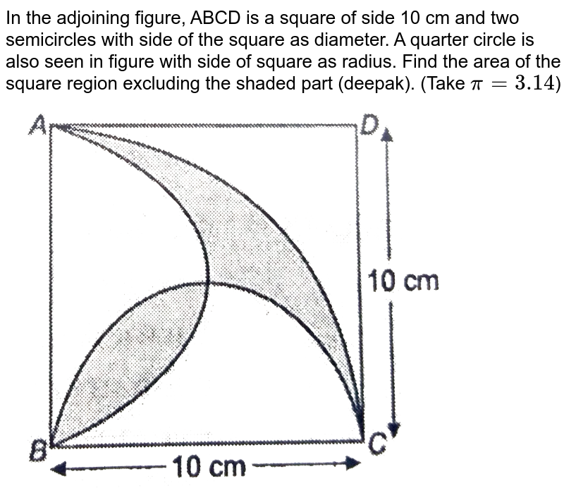 """In the adjoining figure, ABCD is a square of side 10 cm and two semicircles with side of the square as diameter. A quarter circle is also seen in figure with side of square as radius. Find the area of the square region excluding the shaded part (deepak). (Take `pi = 3.14`) <br> <img src=""""https://d10lpgp6xz60nq.cloudfront.net/physics_images/NTN_MATH_X_C12_S01_032_Q01.png"""" width=""""80%"""">"""