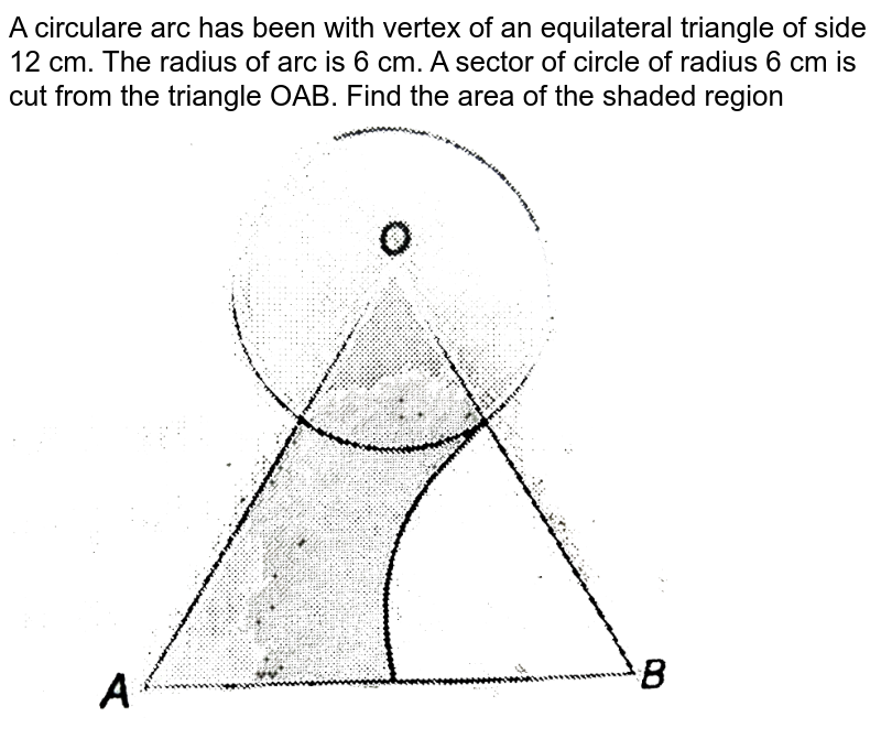 """A circulare arc has been with vertex of an equilateral triangle of side 12 cm. The radius of arc is 6 cm. A sector of circle of radius 6 cm is cut from the triangle OAB. Find the area of the shaded region <br> <img src=""""https://d10lpgp6xz60nq.cloudfront.net/physics_images/NTN_MATH_X_C12_E01_046_Q01.png"""" width=""""80%"""">"""