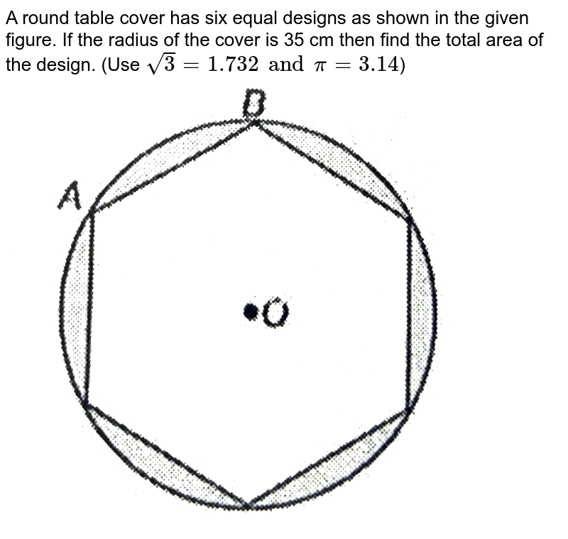 """A round table cover has six equal designs as shown in the given figure. If the radius of the cover is 35 cm then find the total area of the design. (Use `sqrt3 = 1.732 and pi = 3.14`) <br> <img src=""""https://d10lpgp6xz60nq.cloudfront.net/physics_images/NTN_MATH_X_C12_E01_048_Q01.png"""" width=""""80%"""">"""