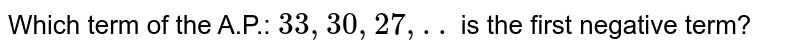 Which term of the A.P.: `33,30,27, ..` is the first negative term?