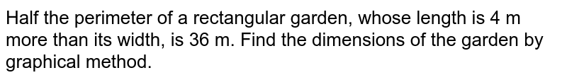 Half the perimeter of a rectangular garden, whose length is 4 m more than its width, is 36 m. Find the dimensions of the garden by graphical method.