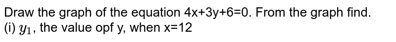 Draw the graph of the equation 4x+3y+6=0. From the graph  find. <br> (i) `y_(1)`, the value opf y, when x=12