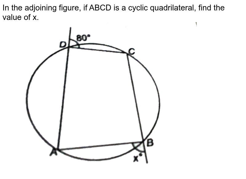 """In the adjoining figure, if ABCD is a cyclic quadrilateral, find the value of x.  <br> <img src=""""https://d10lpgp6xz60nq.cloudfront.net/physics_images/NTN_MATH_IX_C10_E01_080_Q01.png"""" width=""""80%"""">"""
