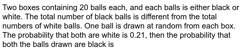 Two boxes containing 20 balls each, and each balls is either black or white. The total number of black balls is different from the total numbers of white balls. One ball is drawn at random from each box. The probability that both are white is 0.21, then the probability that both the balls drawn are black is