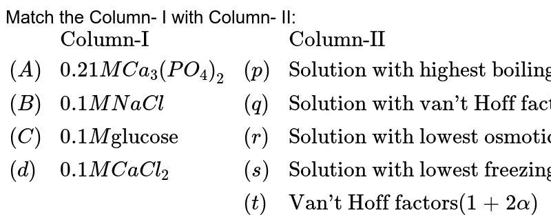 """Match the Column-  I with Column- II: <br> `{:(,""""Column-I"""",,""""Column-II""""),((A),0.21M Ca_(3)(PO_(4))_(2),(p),""""Solution with highest boiling point""""),((B),0.1 M NaCl, (q),""""Solution with van't Hoff factor greater than 1""""),((C),0.1 M """"glucose"""",(r),""""Solution with lowest osmotic pressure""""),((d),0.1M CaCl_(2),(s),""""Solution with lowest freezing point""""),(,,(t),""""Van't Hoff factors""""(1+2alpha)):}`"""