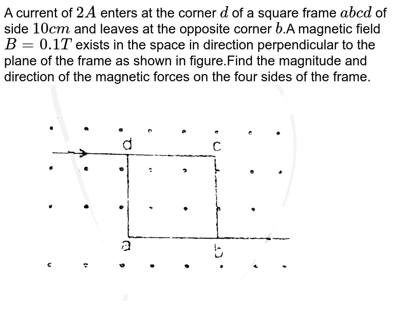 """A current of `2A` enters at the corner `d` of a square frame `abcd` of side `10 cm` and leaves at the opposite corner `b`.A magnetic field `B=0.1 T` exists in the space in direction perpendicular to the plane of the frame as shown in figure.Find the magnitude and direction of the magnetic forces on the four sides of the frame. <br> <img src=""""https://d10lpgp6xz60nq.cloudfront.net/physics_images/RES_ELE_PHY_V02_XII_C01_E01_054_Q01.png"""" width=""""80%"""">"""
