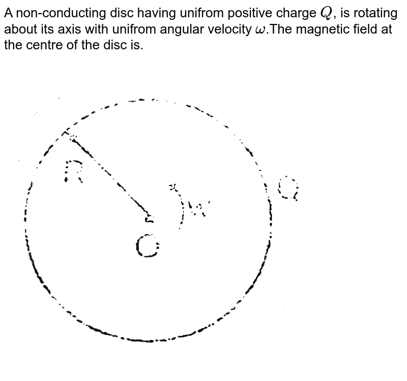 """A non-conducting disc having unifrom positive charge `Q`, is rotating about its axis with unifrom angular velocity `omega`.The magnetic field at the centre of the disc is. <br> <img src=""""https://d10lpgp6xz60nq.cloudfront.net/physics_images/RES_ELE_PHY_V02_XII_C01_E01_181_Q01.png"""" width=""""80%"""">"""