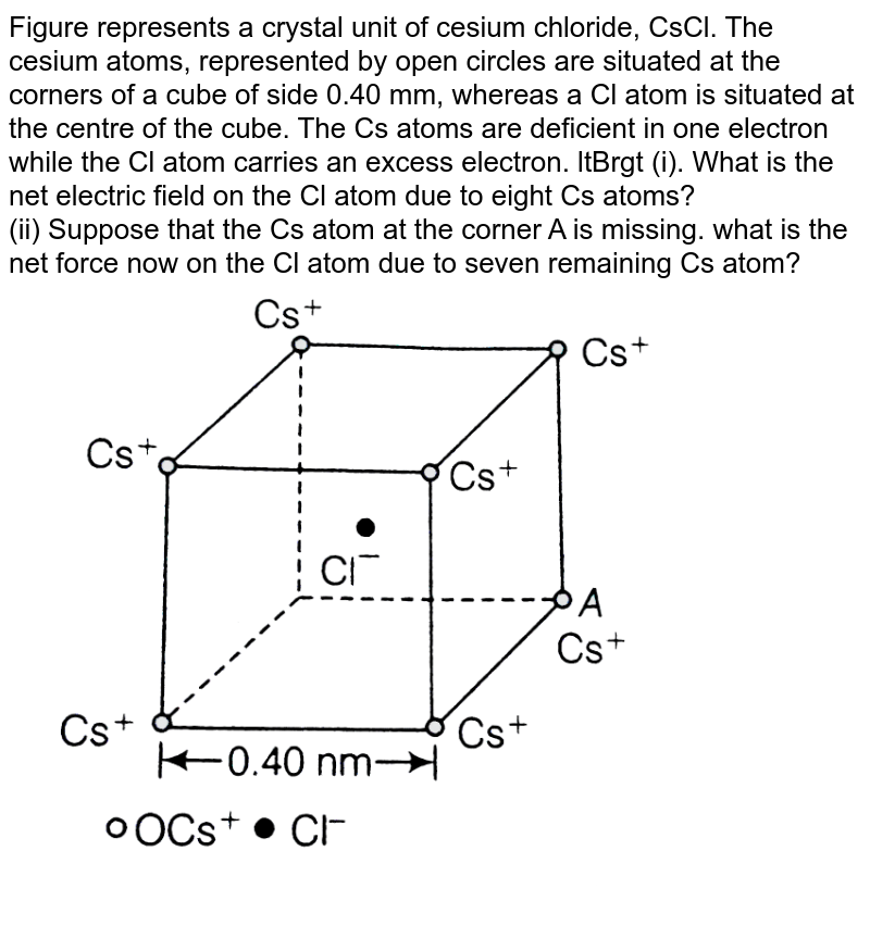 """Figure represents a crystal unit of cesium chloride, CsCl. The cesium atoms, represented by open circles are situated at the corners of a cube of side 0.40 mm, whereas a Cl atom is situated at the centre of the cube. The Cs atoms are deficient in one electron while the Cl atom carries an excess electron. ltBrgt (i). What is the net electric field on the Cl atom due to eight Cs atoms? <br> (ii) Suppose that the Cs atom at the corner A is missing. what is the net force now on the Cl atom due to seven remaining Cs atom? <br> <img src=""""https://d10lpgp6xz60nq.cloudfront.net/physics_images/ARH_NCERT_EXE_PHY_XII_C01_S01_022_Q01.png"""" width=""""80%"""">"""