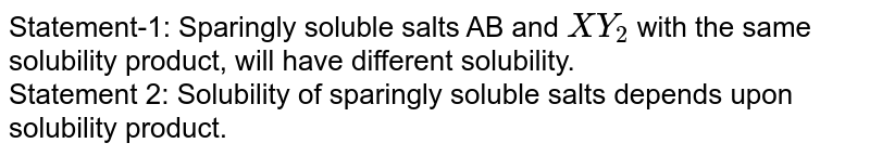 Statement-1: Sparingly soluble salts AB and `XY_(2)` with the same solubility product, will have different solubility. <br> Statement 2: Solubility of sparingly soluble salts depends upon solubility product.