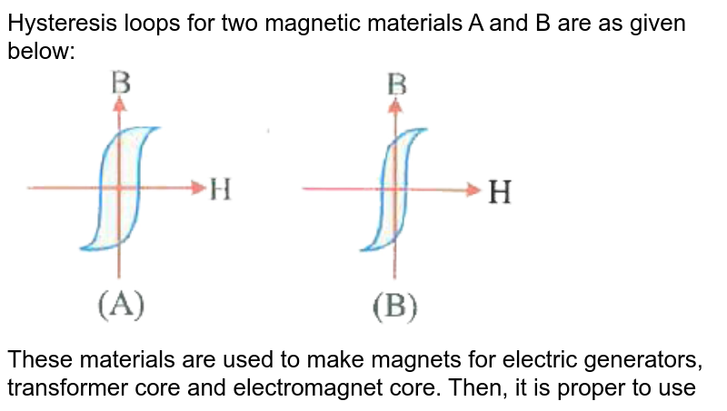 """Hysteresis loops for two magnetic materials A and B are as given below: <br> <img src=""""https://d10lpgp6xz60nq.cloudfront.net/physics_images/NAR_NEET_PHY_XII_P2_C05_E05_003_Q01.png"""" width=""""80%""""> <br> These materials are used to make magnets for electric generators, transformer core and electromagnet core. Then, it is proper to use"""