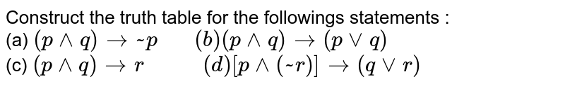 """Construct the truth table for the followings statements : <br> (a) `(p^^q) to ~ p """"   """" (b) (p^^q) to (pvvq)` <br> (c) `(p^^q) to r """"       """" (d) [p^^(~r)] to (qvvr)`"""