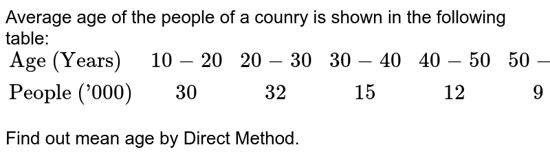 """Average age of the people of a counry is shown in the following table: <br> `{:(""""Age (Years)"""",10-20,20-30,30-40,40-50,50-60),(""""People ('000)"""","""" """"30,"""" """"32,"""" """"15,"""" """"12,"""" """"9):}` <br> Find out mean age by Direct Method."""