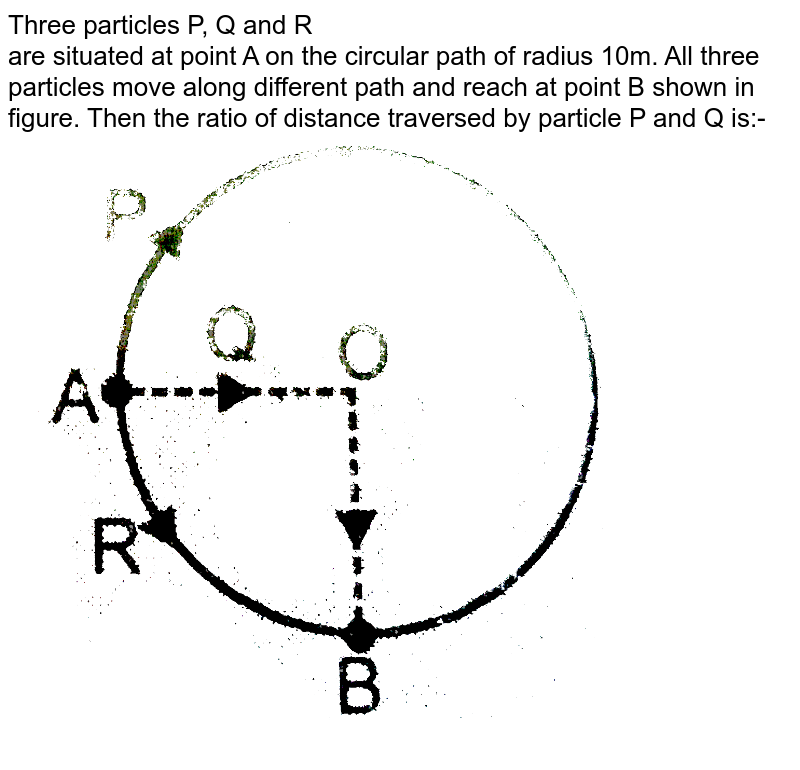 """Three particles P, Q and R <br> are situated at point A on the circular path of radius 10m. All three particles move along different path and reach at point B shown in figure. Then the ratio of distance traversed by particle P and Q is:- <br> <img src=""""https://d10lpgp6xz60nq.cloudfront.net/physics_images/ALN_PHY_C02_E01_164_Q01.png"""" width=""""80%"""">"""